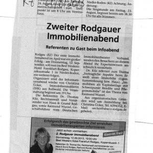 Zweiter Rodgauer Immobilienabend – August 2013